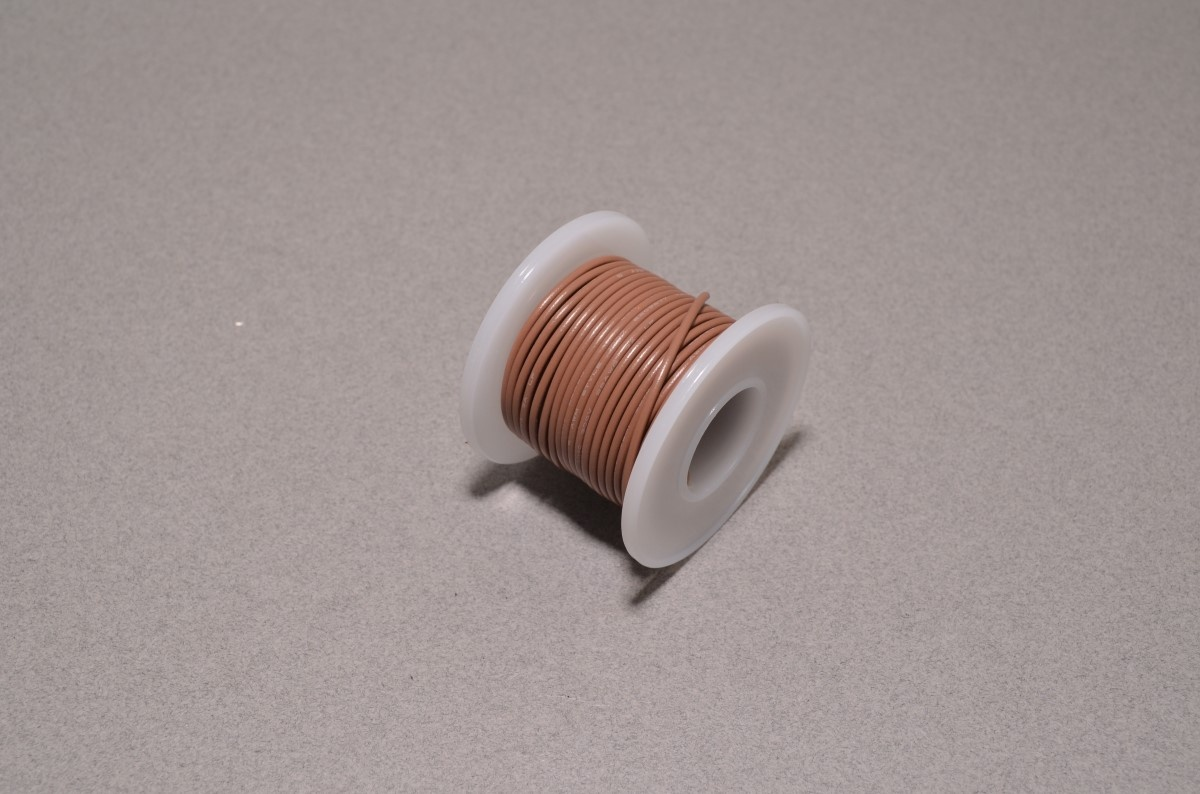 22 AWG Brown Solid Core Wire - 25\' Spool - BC Robotics