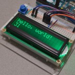 16x2 Character LCD with a dark green backlight connected to an Arduino Uno