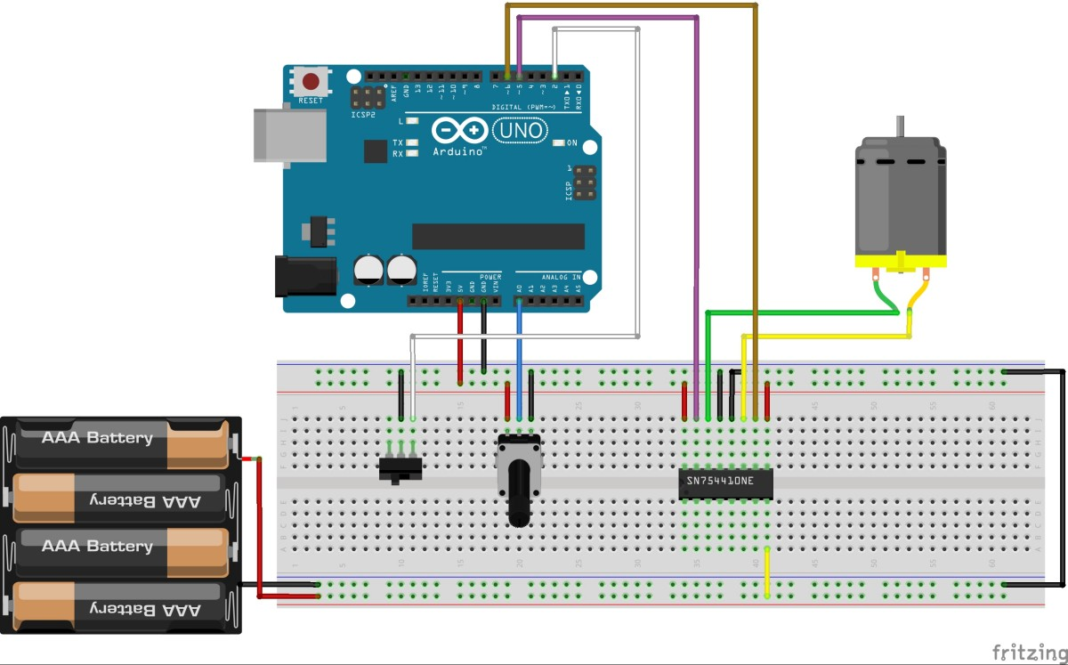 Controlling A Dc Motor With Arduino Bc Robotics Diagram Together L298 H Bridge Circuit Pin On Sketch1