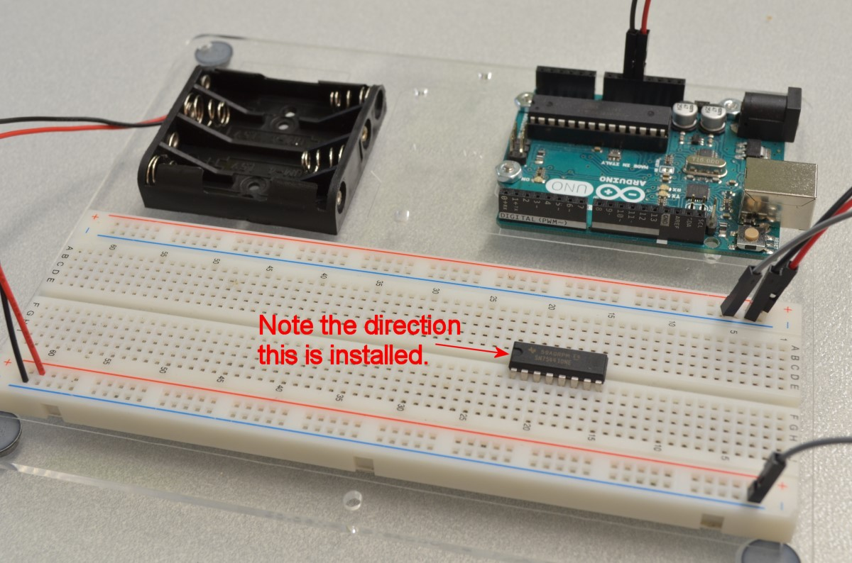 Controlling A Dc Motor With Arduino Bc Robotics 12 Fixing The Breadboard Power Supply On Site For Sitting In Front Of You As Pictured Ensure That Indent Is Left Side Pins These Chips Are Fairly Delicate So Be Sure