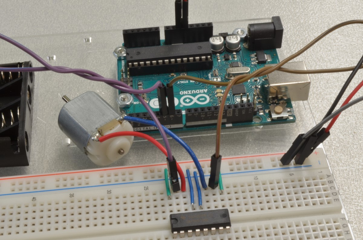Controlling A Dc Motor With Arduino Bc Robotics Circuit Ponents Symbols As Well Stepper Controller Step 7 Wiring The H Bridge Part 5